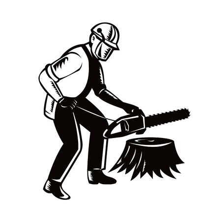 Black and white illustration of lumberjack arborist tree surgeon holding a chainsaw cutting tree stump on isolated white background done in retro woodcut style. Illustration