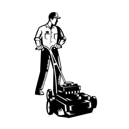Black and white illustration of male gardener mowing with lawnmower facing front on isolated white background done in retro woodcut style.