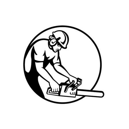 Black and white illustration of a tree surgeon arborist gardener tradesman lumberjack worker wearing hard hat holding  chainsaw side view set in circle done in retro style on isolated background.