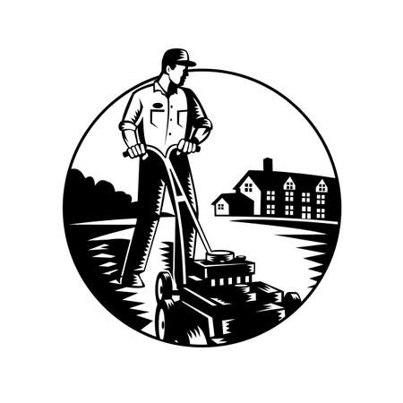 Black and white illustration of male gardener mowing with lawn mower facing front set inside circle with house in background done in retro woodcut style. 일러스트