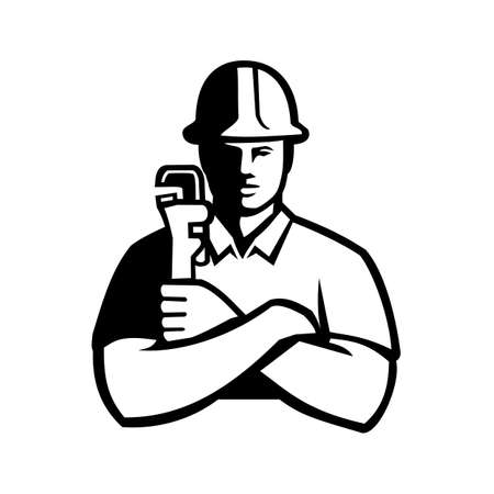 Black and white illustration of a pipefitter, a tradesperson who install, fabricate, maintain and repair mechanical piping systems, holdimg a pipe wrench  viewed from front in retro style. Vectores