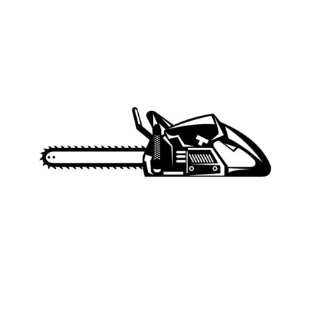 Retro black and white style illustration of a chainsaw viewed from side on isolated background.