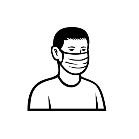 Black and white retro style illustration of an Asian teenage child or teenager boy wearing a face mask viewed from front isolated background.