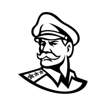 Black and white mascot illustration of head of an American three-star general wearing a peaked cap looking forward viewed from side on isolated background in retro style. Çizim