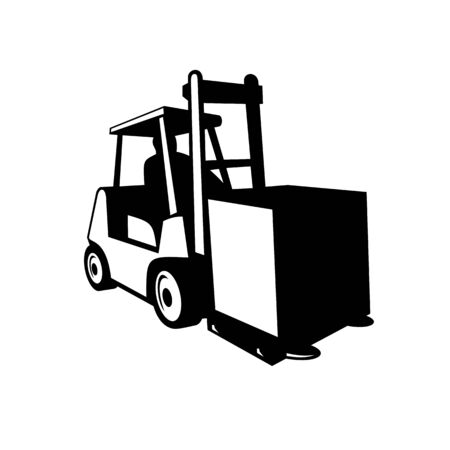 Black and white retro style illustration of forklift truck, powered industrial truck, in operation viewed from front on isolated background.