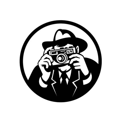Retro style illustration of a photographer wearing fedora hat a shooting vintage camera viewed from front on isolated background in black and white.