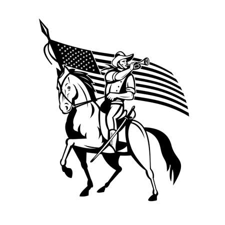 Retro style illustration of a United States Cavalry, the mounted force of the United States of America with bugle and USA American stars and stripes flag on horse on isolated background.