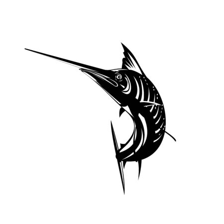Retro woodcut style illustration of an Atlantic sailfish, a fish of the genus Istiophorus of billfish living in colder sea areas, jumping up viewed from front on isolated background done in black and white. Illusztráció