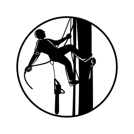 Retro woodcut style illustration of an arborist, lumberjack or tree surgeon climbing up tree with chainsaw and shouting on isolated background in black and white.