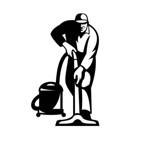 Illustration of a janitor cleaner worker vacuuming cleaning with vacuum cleaner facing front on isolated done in retro style.