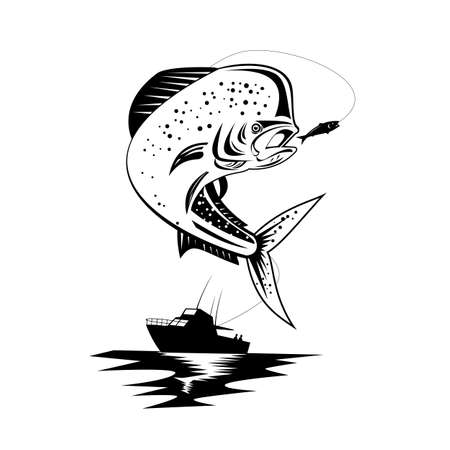 Retro style illustration of a mahi-mahi, dorado or common dolphinfish Coryphaena hippurus, a surface-dwelling ray-finned fish, jumping with fishing boat done in black and white on isolated background.