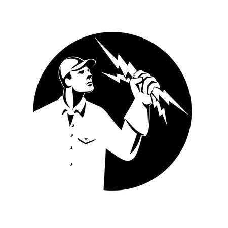 Illustration of an electrician construction worker lineman looking up holding a lightning bolt throwing viewed from the side set inside shield crest done in retro style on isolated background. Vetores