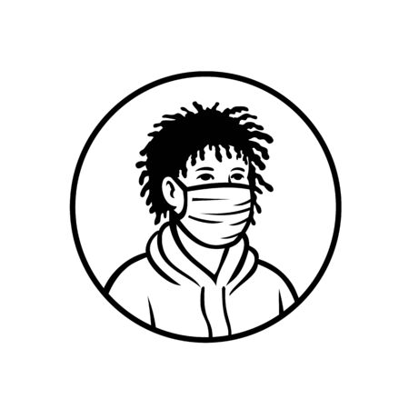 Retro style illustration of an African-American teenage teenager boy wearing a face mask and hoodie viewed from front isolated background in black and white. Stock Illustratie