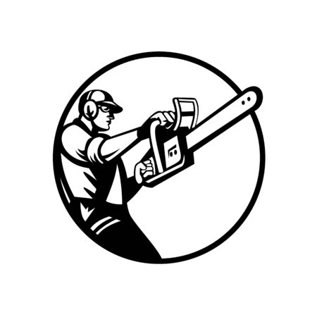 Retro style illustration of an arborist, lumberjack or tree surgeon holding and raising up chainsaw viewed from side set inside circle on isolated background in black and white.