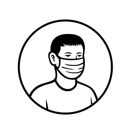 Black and white retro style illustration of an Asian teenage child or teenager boy wearing a face mask viewed from front set inside circle on isolated background. Stock Illustratie