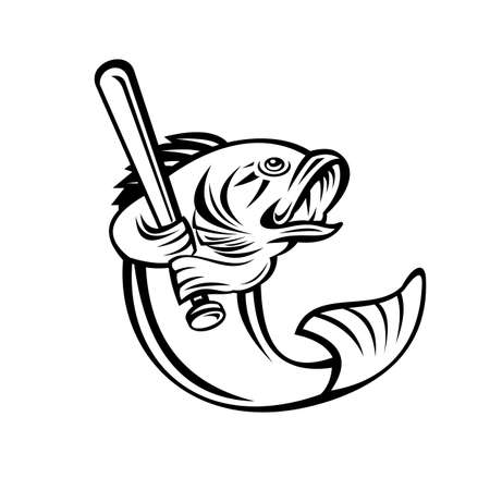Illustration of a largemouth bass, species of black bass and a carnivorous freshwater gamefish, as baseball player batting with bat on isolated background done in retro black and white style.