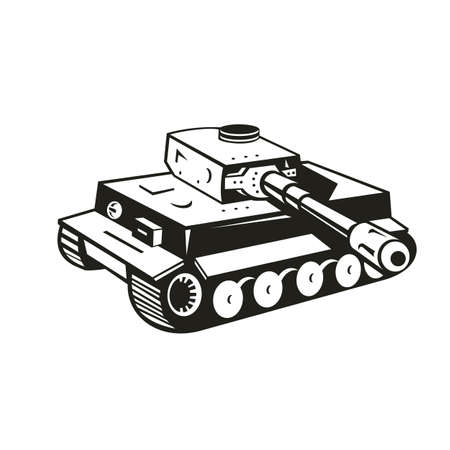 Black and white retro style illustration of a world war two German panzer tank aiming it's cannon to side  on isolated background.