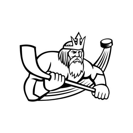 Black and white mascot illustration of Poseidon or Neptune, god of the Sea in Greek and Roman mythology holding an ice hockey stick with puck viewed from front on isolated background in retro style.