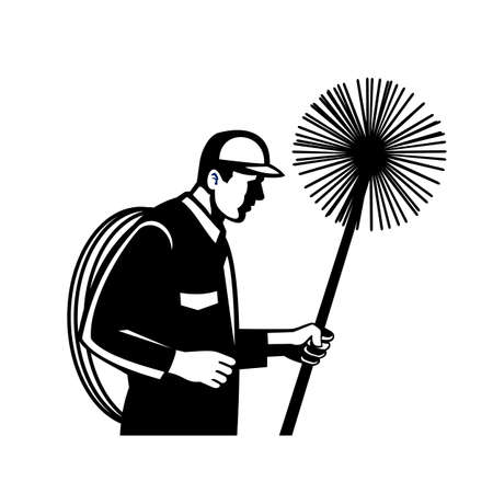 Black and white retro style illustration of a chimney sweeper holding a sweep or broom and rope viewed from side on isolated white background.