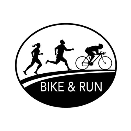 Retro style illustration of a silhouette of a bike and run marathon runner running, cycling, biking riding on bicycle viewed from side set in oval done in black and white. Ilustracja
