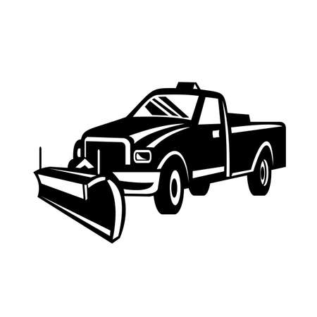Retro black and white style illustration of a snow removal equipment or snow plow pick-up truck viewed from side on isolated white background.