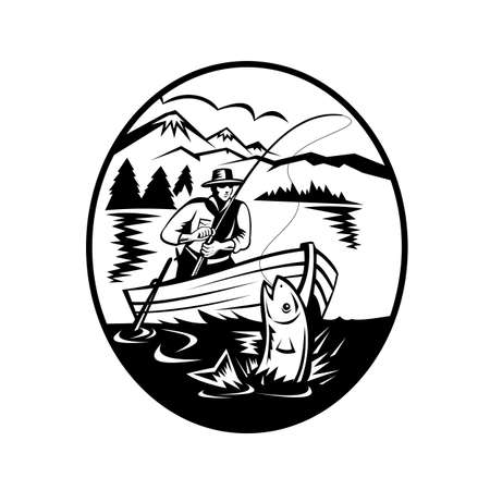 Retro black and white style illustration of a trout fisherman on boat fishing in lake with rod and reel hooking catching salmon fish with mountains in background on isolated background. 向量圖像
