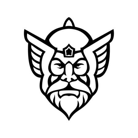 Black and white mascot illustration of head of Thor, a hammer-wielding god associated with thunder, lightning, storms, and strength viewed from front on isolated background in retro style. Illustration