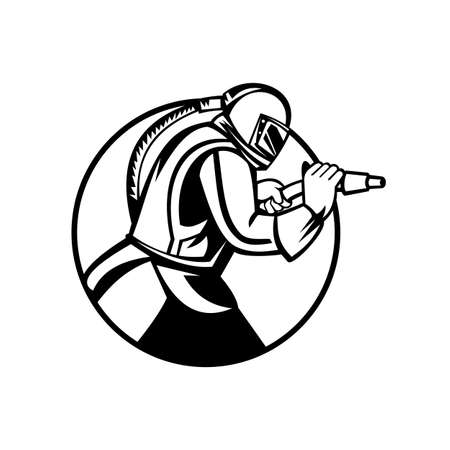 Black and white mascot illustration of a sandblaster or sand blaster abrasive blasting viewed from side set inside circle  on isolated background in retro style. Illustration