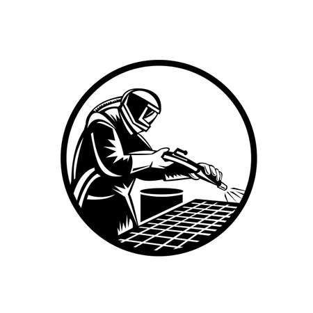 Black and white woodcut illustration of a sandblaster or sand blaster abrasive blasting viewed from side set inside circle on isolated background in retro style.