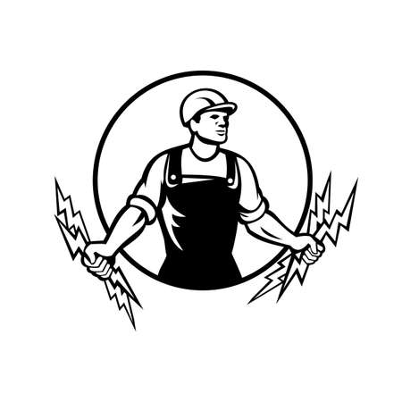 Black and white illustration of an electrician, power lineman or construction worker holding two lightning bolts viewed from front set inside circle done in retro style on isolated white background.