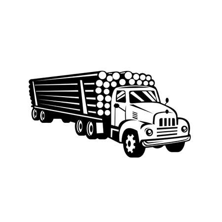 Retro woodcut black and white style illustration of a vintage classic logging truck, log truck, log hauler or timber lorry, a large truck carrying logs viewed from side on isolated background.