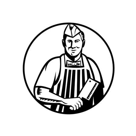 Retro woodcut style illustration of a butcher cutter worker with meat cleaver knife wearing cap and apron facing side set inside circle on isolated background done in black and white. Vetores
