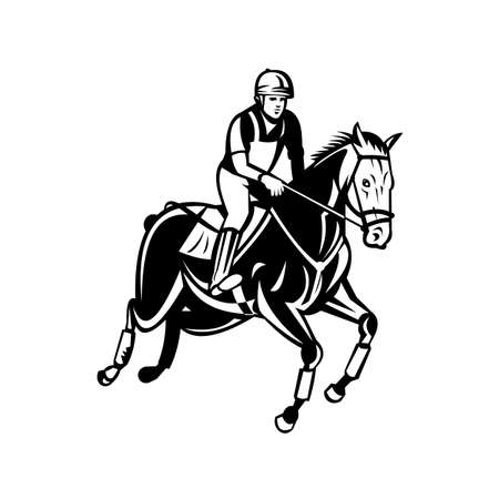 Retro black and white style illustration of an equestrian riding horse show jumping, stadium jumping or open jumping,  part of a group of English riding equestrian events on isolated background.