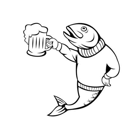 Cartoon style illustration of a trout or salmon fish holding up beer mug of ale wearing sweater or jersey on isolated white background. Vector Illustration