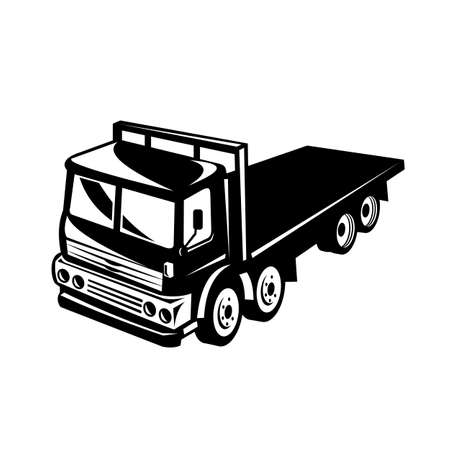 Retro black and white style illustration of a flatbed truck viewed from side on a high angle on isolated white background.