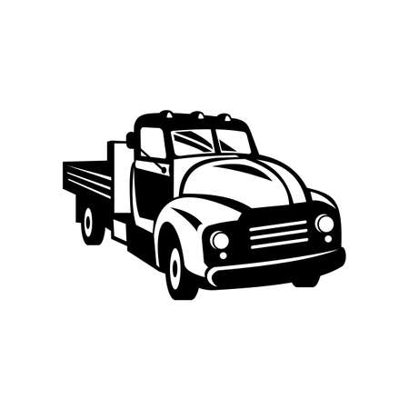 Retro woodcut black and white style illustration of a classic vintage American pickup truck with wood side rails viewed from front on high angle on isolated background. Ilustração