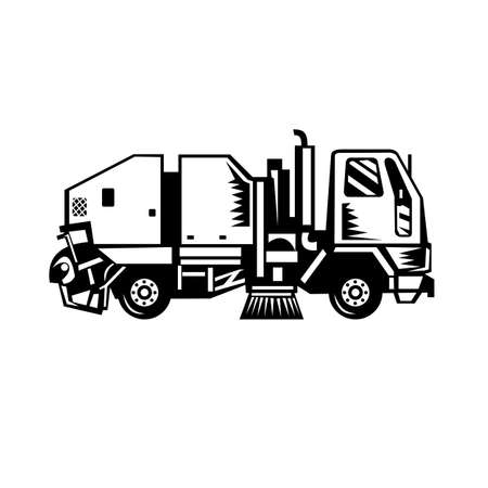 Black and white illustration of a street cleaner truck sweeping cleaning from side on isolated background done in retro woodcut style.