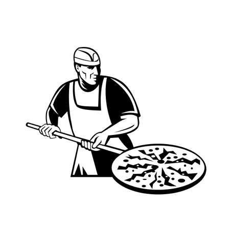 Black and white illustration of a pizza pie maker or baker holding a peel with pizza pie into a brick oven viewed from front done in retro style on isolated white background.