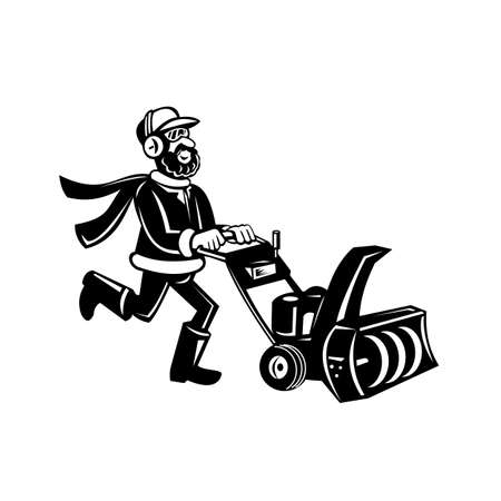 Retro black and white illustration of a man pushing a snow blower or snow thrower viewed from side on isolated white background done in cartoon style.