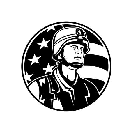 Mascot illustration of bust of American soldier military serviceman with USA stars and stripes flag of a viewed from front set in circle on isolated background in retro black and white style.