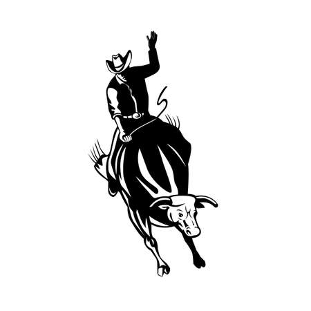 Retro style black and white illustration of rodeo cowboy bull rider riding a bucking bull viewed from front on isolated background.