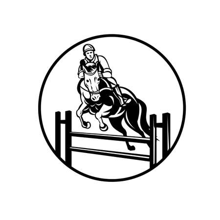 Retro style illustration of a rider on horse show jumping, stadium jumping or open jumping, an English riding equestrian event set in circle on isolated background done in retro black and white style.