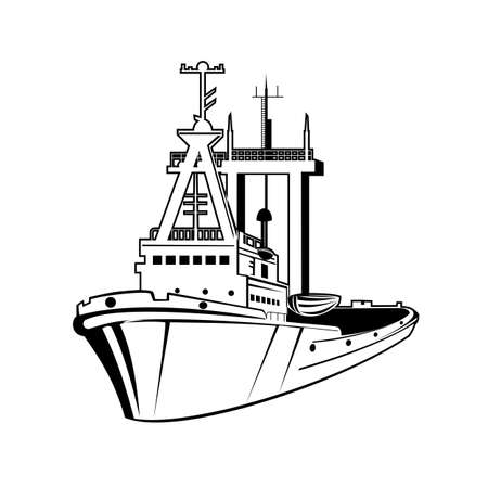 Retro style illustration of a harbor tugboat or tug, a type of vessel that maneuvers other vessels by pushing or pulling them by a tow line on isolated background done in black and white.