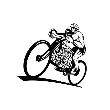 Retro style illustration of a cyclist riding a road bike, cycle or bicycle with v8 engine with eight-cylinder piston engine viewed from low angle on isolated background done in black and white. Stock Illustratie