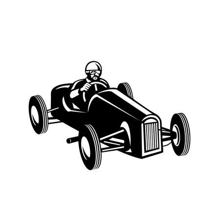 Retro style illustration of a racing driver driving vintage race car viewed on high angle on isolated white background black and white style.