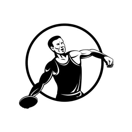 Retro style illustration of a discus throw or disc throw, a track and field event in which an athlete throws a heavy disc, set inside circle on isolated background done in black and white. 矢量图片