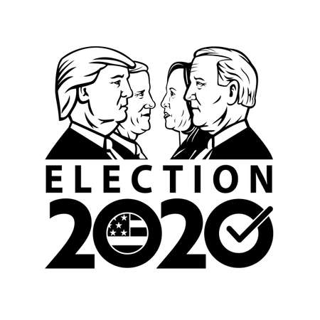 Aug 19, 2020, AUCKLAND, NEW ZEALAND: Illustration of American Presidential Election 2020 showing Republican president Donald Trump and vice president Mike Pence with Democrat Joe Biden, Kamala Harris. Editorial