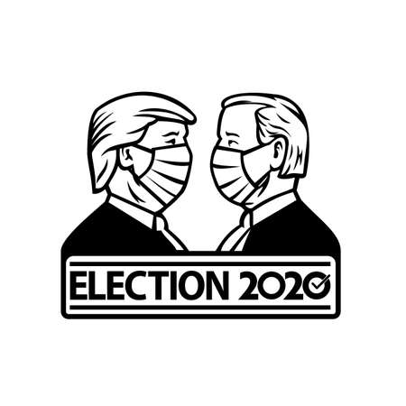 Aug 26, 2020, AUCKLAND, NEW ZEALAND: Illustration of American presidential candidate for 2020 US election, Republican Donald Trump and Democrat Joe Biden wearing face mask retro black and white style.