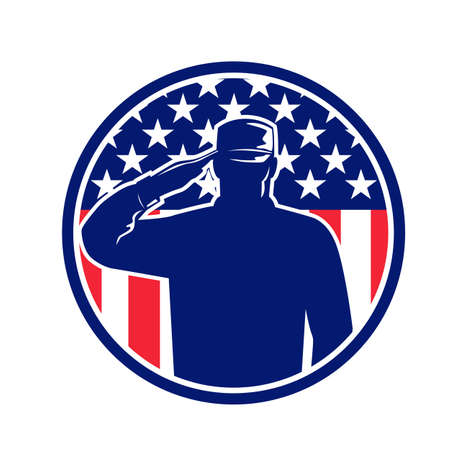 Retro style illustration of an American veteran soldier or military serviceman personnel saluting the USA stars and stripes flag set inside circle on isolated background done in full color.