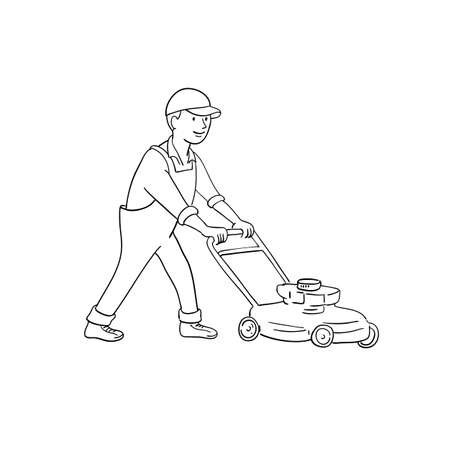 Cartoon style illustration of a gardener mowing lawn with lawnmower or lawn mower viewed from side on isolated background. 矢量图像